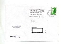 Lettre Flamme Saint Michel  Jumelage Puttlingen  Sur Roulette - Postmark Collection (Covers)