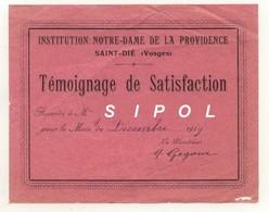 Témoignage De Satisfaction Inst. N.D. De La Providence ST Dié 88 1919 Signé Gegoux - Diplômes & Bulletins Scolaires