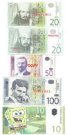 X1- Lot 5 Psc.Fantasy Dinar Banknote- Serbia- SpongeBob, Nikola Tesla - Billets