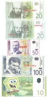 X1- Lot 5 Psc.Fantasy Dinar Banknote- Serbia- SpongeBob, Nikola Tesla - Bankbiljetten