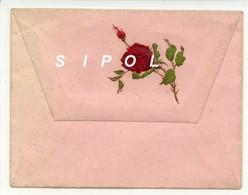 Belle Petite Enveloppe Rose  Avec  Rabat Gaufré Et Rose Rouge - Autres Collections