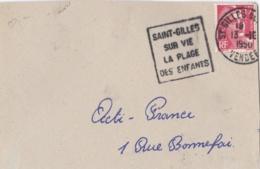 """Flamme Daguin 4 Lignes """" Saint-Gilles-sur-Vie La Plage Des Enfants """" Sur Devant De Lettre - Marcophilie (Lettres)"""