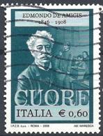 Italia, 2008 DE Amicis €.0,60 # Sassone 3021 - Michel 3230 - Scott 2861  USATO - 6. 1946-.. República