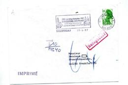 Lettre Flamme Strasbourg  Jumelage Stuttgart  Sur Roulette Taxee Nachgebuhr - Oblitérations Mécaniques (flammes)