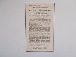 Oud Bidprentje: Medard VANHOOREN Echtg. Lucia DEVREKER, Zande 12/12/1883 - 20/8/1938 - Avvisi Di Necrologio