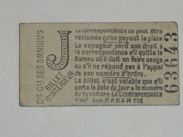 "Ancien Ticket Omnibus "" J "". Compagnie Générale Des Omnibus, Ticket Metro. - Europe"