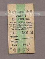 BRD -Pappfahrkarte (DR)  --> Schnellzugzuschlag (Priort) - Bahn