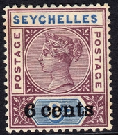 Seychelles 1901 6c On 5c SG40 - Mounted Mint - Seychelles (...-1976)