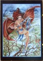 FEMME DEMI NUE FEE JOY ANGEL VIRTUES CARTE 4 PAGES  SCAN R/V - Contes, Fables & Légendes
