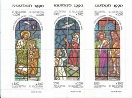 ARGENTINA 1990 CHRISTMAS NAVIDAD RELIGION 3 SOUVENIR SHEETS SCOTT 1723-25 - Unused Stamps