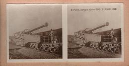 Tirage Photo Albuminé Stéréo Original Pièce à Longue Portée 380 Saint-Mihiel 1918 & Poilu Sur La Train & Les Rails Canon - Anonieme Personen