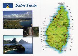1 MAP Of Saint Lucia Caribbean * 1 Ansichtskarte Mit Der Landkarte Von Saint Lucia Und 3 Ansichten * - Landkarten
