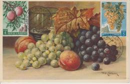 Saint Marin Carte Maximum 1958 Raisins Et Peches 451-52 - Saint-Marin
