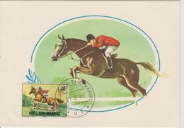 Saint Marin Carte Maximum 1966 Chevaux 662 - Lettres & Documents