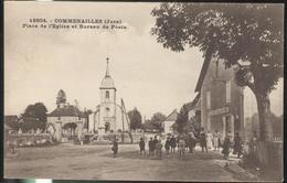 CPA Commenailles - Place De L'Eglise Et Bureau De Poste - Circulée 1930 - Frankrijk