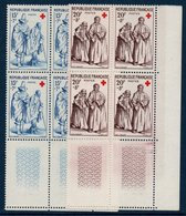 FR 1957 Paire Des Timbres Croix-rouge N° 1140-1141 ** MNH Bloc De 4 Coin De Feuille - France