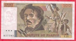 """100 Francs """"Delacroix"""" 1979---VF/SUP---Série E.21 - 1962-1997 ''Francs''"""