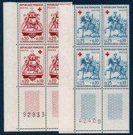 FR 1960  Croix Rouge  N°YT 1278-1279 ** MNH Bloc De 4 Coin De Feuille - Neufs