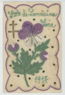 GUERRE 1914-18 -Belle CPA Brodée Travail De Poilu Sur Le Front CROIX DE LORRAINE 1917 - LEA -Sce Des Troupes De Campagne - Oorlog 1914-18