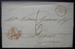 Toscane 1853, Marque D'entrée Par Marseille D'une Lettre De Livourne (Livorno) Cachets Rouge - Marcophilie (Lettres)