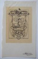 Ex-libris Illustré Belgique XXème - Composition Par De Laet - Clovis COISY - Sigle ABCDE Sur Le Papier - Ex-libris