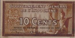 FRENCH INDOCHINA  P. 85e 10 C 1939 XF - Indochine