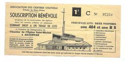 BILLET De LOTERIE Années 1960..Souscription Occasion Inauguration Du Chantier De L'Eglise Saint Michel à ARGENTAN (61) - Biglietti Della Lotteria