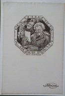Ex-libris Illustré Belgique XXème - Roger PREVOT Secrétaire De L'ABCDE De 1924-1926 - Sigle ABCDE Sur Le Papier - Ex-libris