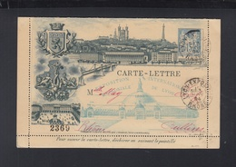 France Carte Lettre 1894 Exposition De Lyon - Cartoline-lettere