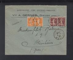 France Lettre 1923 Dieuze Pour Baviere - Postmark Collection (Covers)