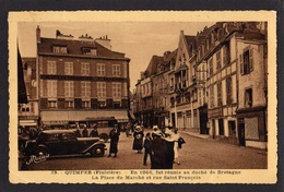 CPA - 29 - QUIMPER ( Finistère) - En 1066, Fut Réunie Au Duché De Bretagne - La Place Du Marché -CITROËN TRACTION - - Quimper