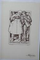 Ex-libris Illustré Belgique XXème - Emile VAUTHIER - Hommes Au Violon - Sigle ABCDE Sur Le Papier - Ex-libris