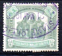 W664 - FEDERATED MALAY STATES  1901, 1 Dollaro Yvert 23 Usato. Fil CC - Federated Malay States