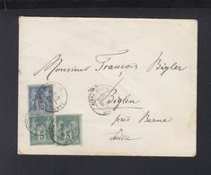 France Lettre 1883 Pour La Suisse - Poststempel (Briefe)