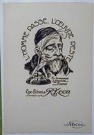 Ex-libris Illustré Belgique XXème - R. KEON - En Hommage à Anatole France - Sigle ABCDE Sur Le Papier - Ex Libris