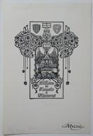 Ex-libris Illustré Belgique XXème - Monastère De Montserrat - Sigle ABCDE Sur Le Papier - Ex-libris