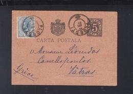 Romania Stationery Uprated 1894 Ploiesti To Greece - Lettere