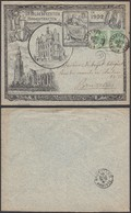 BELGIQUE 1900 COB 56 X2 Sur Lettre Illustree De Hoogstraeten (DD) DC-0982 - 1893-1900 Thin Beard