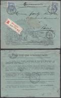 BELGIQUE 1905 COB 60X2 Sur Lettre ILLUSTREE En Recommande De HYON-CIPLY   (DD) DC-0985 - 1893-1900 Fine Barbe