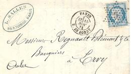 1871- Lettre De Paris / R. DE BONDY  Affr. N°60 Oblit. étoile 5 - 1849-1876: Période Classique