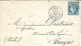 1871- Lettre De Paris / R. DE PALESTRO  Affr. N°60 Oblit. étoile 16 - Marcophilie (Lettres)