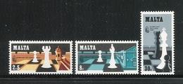 MALTA - 1980 - 3 VALORi NUOVi S.T.L.  - OLIMPIADI DEGLI SCACCHI - IN OTTIME CONDIZIONI. - Malta