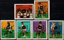 "Paraguay 1987 **  YT 2314-19 ""Philatelia 87"" Tenis. Pecci. Connors. Sabattini. Becker. Kohde. Copa Davis 1985 - Paraguay"