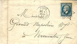 1867- Lettre De Paris / R. TIRECHAPPE  Affr. N°22 Oblit. étoile 17 - 1849-1876: Klassik
