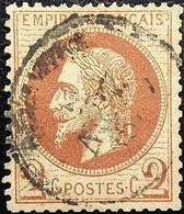 FRANCE Y&T N°26Aa Napoléon 2c. Chocolat. Oblitéré CàD - 1863-1870 Napoleon III With Laurels