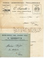 LES EGLISOTTES 33. FACTURE AVEC ENVELOPPE FORGE SERRURERIE TAILLANDERIE SARROTTE 1913 - France