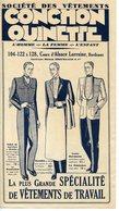 D54. DEPLIANT VETEMENTS DE TRAVAIL CONCHON-QUINETTE A BORDEAUX 1930 - Pubblicitari