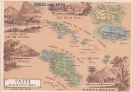 Vers 1900 Carte Géographique Des Iles Marquises Et De Tahiti (publicité Perles Du Japon) - Polynésie Française