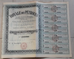 Action Au Porteur De 100 Francs Royale Des Pétroles 1927 - Pétrole