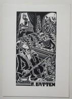 Ex-libris Illustré Belgique XXème - Musiciens - R. BATTEN - Ex-libris